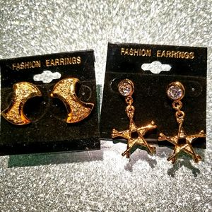 Brand new 2 pairs gold earrings set